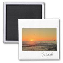 Go travel Sunset Ocean Yacht Magnet