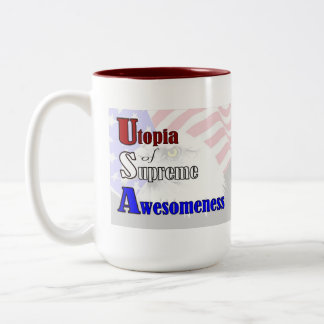 Go USA! Utopia of Supreme Awesomeness Patriotic Two-Tone Coffee Mug