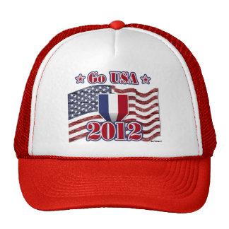 Go USA with America flag - wood grain Trucker Hat