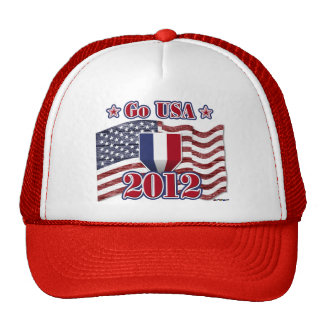 Go USA! with America flag - wood grain Trucker Hat