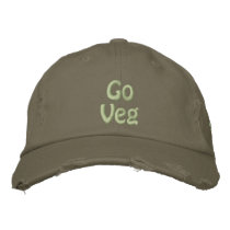Go Veg, Save the Planet, Animal Rights Activist Embroidered Baseball Cap