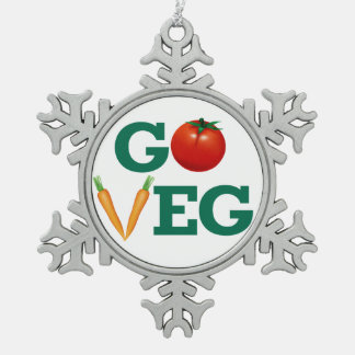 Go Veg Snowflake Pewter Christmas Ornament