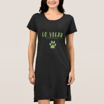 Go Vegan Animal Paw Faux Green Glitter Typography Dress