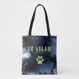 Go Vegan Animal Paw Watercolor Ink Gold Typography Tote Bag