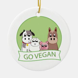 Go Vegan Ceramic Ornament