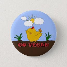 Go Vegan - Cute Chick Pinback Button