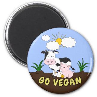 Go Vegan - Cute Cow Magnet