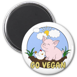Go Vegan - Cute Pig and Chicken Magnet