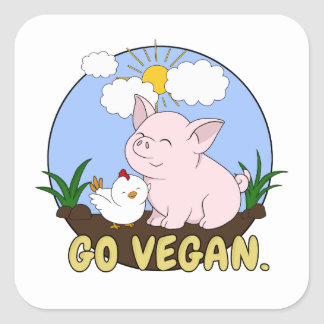 Go Vegan - Cute Pig and Chicken Square Sticker