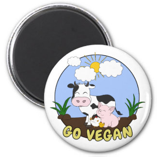 Go Vegan - Cute Pig, Cow and Chicken Magnet