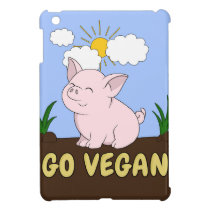 Go Vegan - Cute Pig iPad Mini Cover