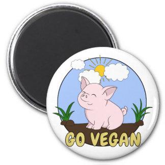Go Vegan - Cute Pig Magnet