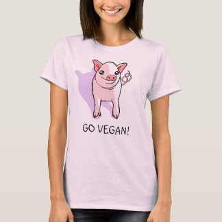 """Go Vegan!"" Cute Pink Piglet Drawing Women's Shirt"