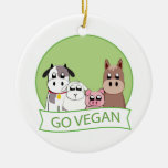 Go Vegan Double-Sided Ceramic Round Christmas Ornament