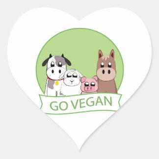 Go Vegan Heart Sticker