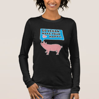 Go Vegan. Make Your Heart Happy Long Sleeve T-Shirt