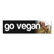 GO VEGAN - piggy Bumper Sticker