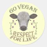 GO VEGAN - RESPECT FOR LIFE - */* CLASSIC ROUND STICKER