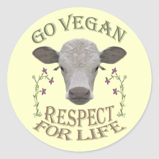 GO VEGAN - RESPECT FOR LIFE - */* CLASSIC ROUND STICKER