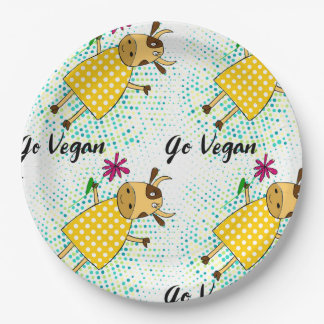 """""""Go vegan"""" sign with cute doodle cow and flowers Paper Plate"""