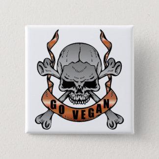 Go Vegan Skull Button