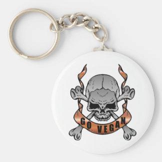 Go Vegan Skull Keychain