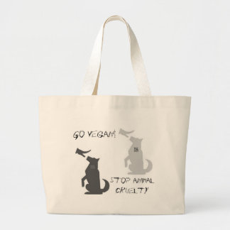 Go Vegan...Stop Animal Cruelty! Jumbo Tote Bag