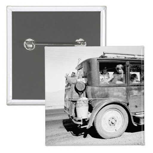 Go West Young Family, 1936 2 Inch Square Button