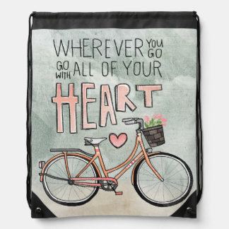 Go With All Of Your Heart – Vintage Bicycle Drawstring Backpack