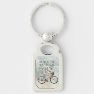 Go With All Of Your Heart – Vintage Bicycle Silver-Colored Rectangular Metal Keychain
