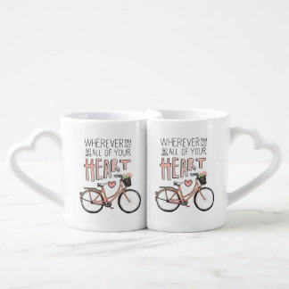 Go With All Of Your Heart – Vintage Bicycle Lovers Mug Set