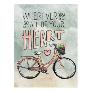 Go With All Of Your Heart – Vintage Bicycle Postcard