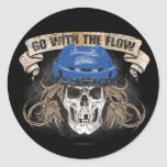 Go with the Flow (blue) Classic Round Sticker