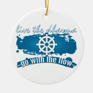 Go with the Flow Dharma Double-Sided Ceramic Round Christmas Ornament
