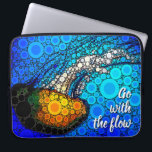 """""""Go with the Flow"""" Fun, Ocean Jellyfish Circle Art Laptop Sleeve<br><div class=""""desc"""">""""Go with the flow."""" Take a lesson from this orange yellow jellyfish floating along in the turquoise blue ocean and let life take its course whenever you use this stunningly chic, vibrantly-colored photo neoprene laptop sleeve. This laptop sleeve comes in three sizes: 15&quot;, 13&quot;, and 10"""". Makes a great gift...</div>"""