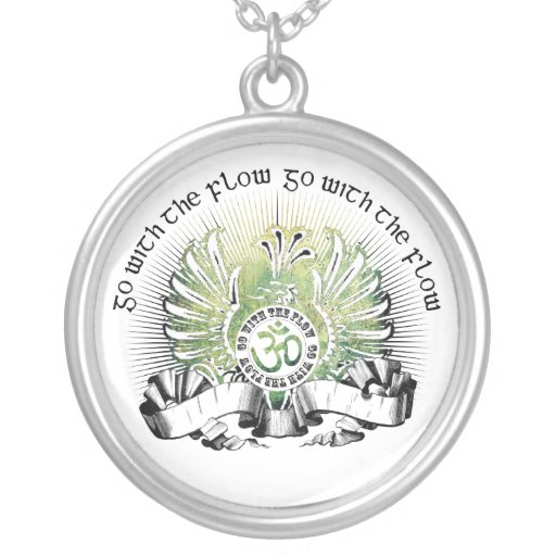 Go With The Flow Griffin & Om Symbol Round Pendant Necklace