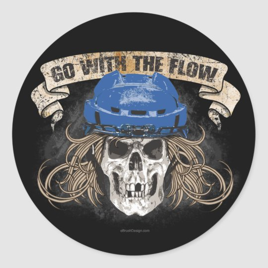Go with the Flow (Hockey Hair) Blue Classic Round Sticker