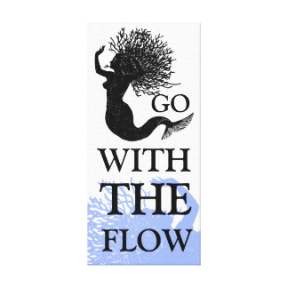 Go With The Flow Mermaid Stretched Canvas Print