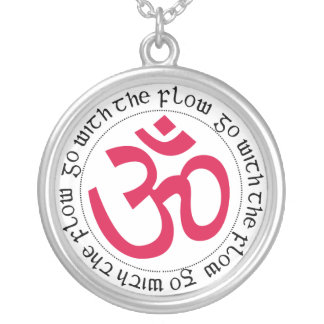 Go with the flow Om Symbol Silver Plated Necklace