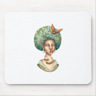 Go with the Fro -  Lady with Green Afro Unique Art Mouse Pad