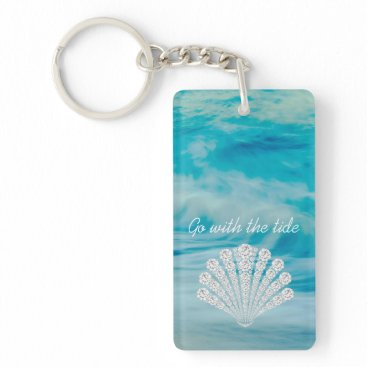 Beach Themed Go With The Tide Ocean Waves Diamond Seashell Keychain