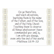 Go Ye Therefore and Teach All Nations Postcard
