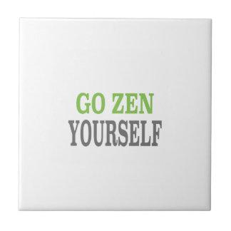 Go Zen Yourself (green breath edition) Ceramic Tiles