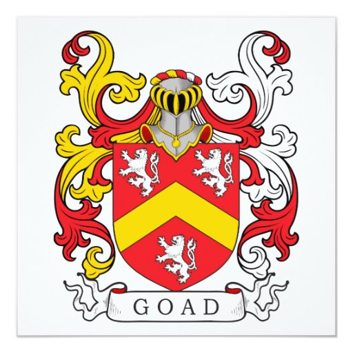 Goad Family Crest 5.25x5.25 Square Paper Invitation Card