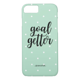 Goal Getter | Trendy Mint Green and Polka Dots iPhone 8/7 Case