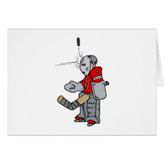 Goalie blocking puck with face greeting cards