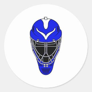 Goalie Helmet Blue Classic Round Sticker
