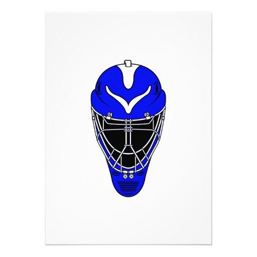 Goalie Helmet Blue Custom Announcement