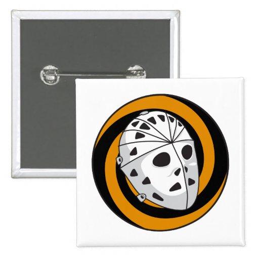 goalie hockey mask orange black pin