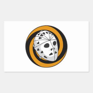 goalie hockey mask orange black rectangular sticker